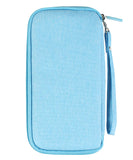 JAVOedge Blue Long Zippered Passport and Travel Document Organizer, Front Pocket, Wristlet and Bonus Drawstring Bag