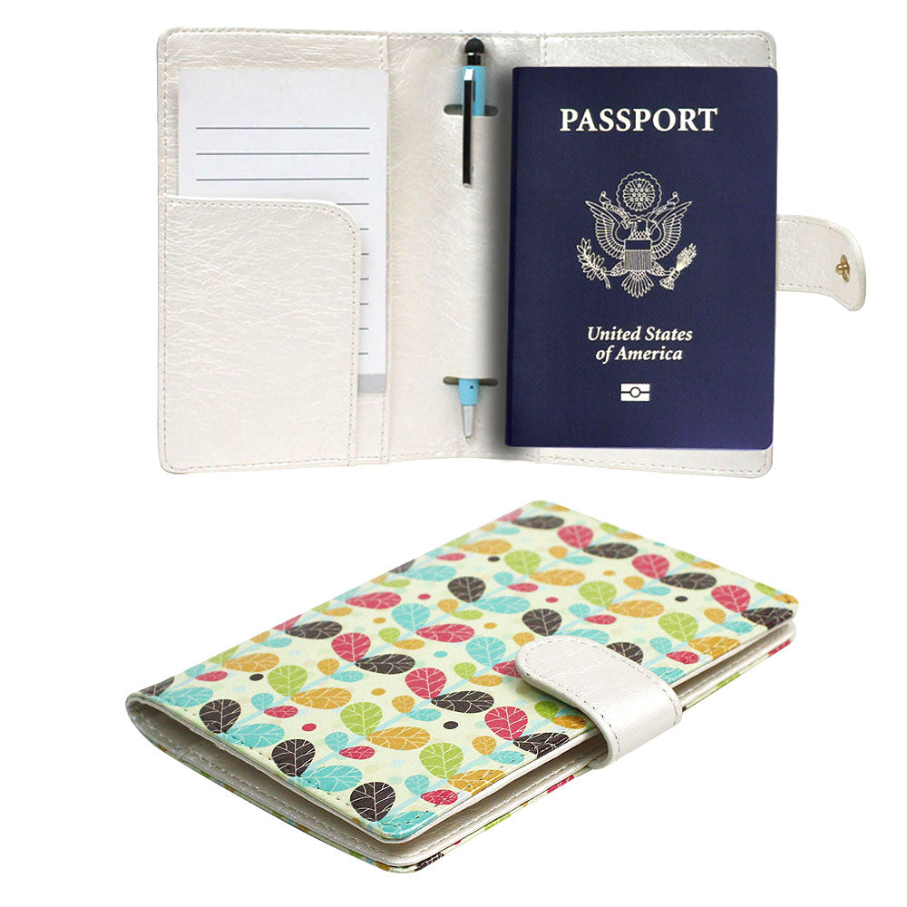 JAVOedge Luggage Set: Colorful Leaves Print RFID Blocking Passport Case with Pen Holder + 2 Matching Luggage Tags