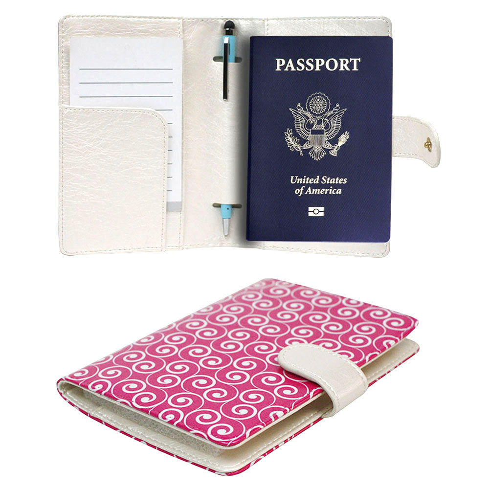 JAVOedge Travel Set: Pink Swirl RFID Blocking Passport Case with Snap Closure, Pen Holder + 2 Matching Luggage Tags