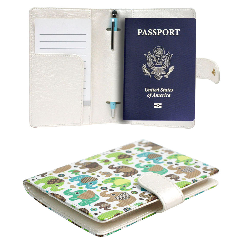 JAVOedge Luggage Set: Blue / Green Elephant Print RFID Blocking Passport Case with Pen Holder + 2 Matching Luggage Tags