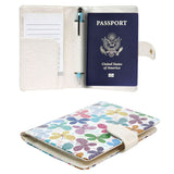 JAVOedge Travel Set: Rainbow Butterfly RFID Blocking Passport Case with Pen Holder + 2 Matching Luggage Tags