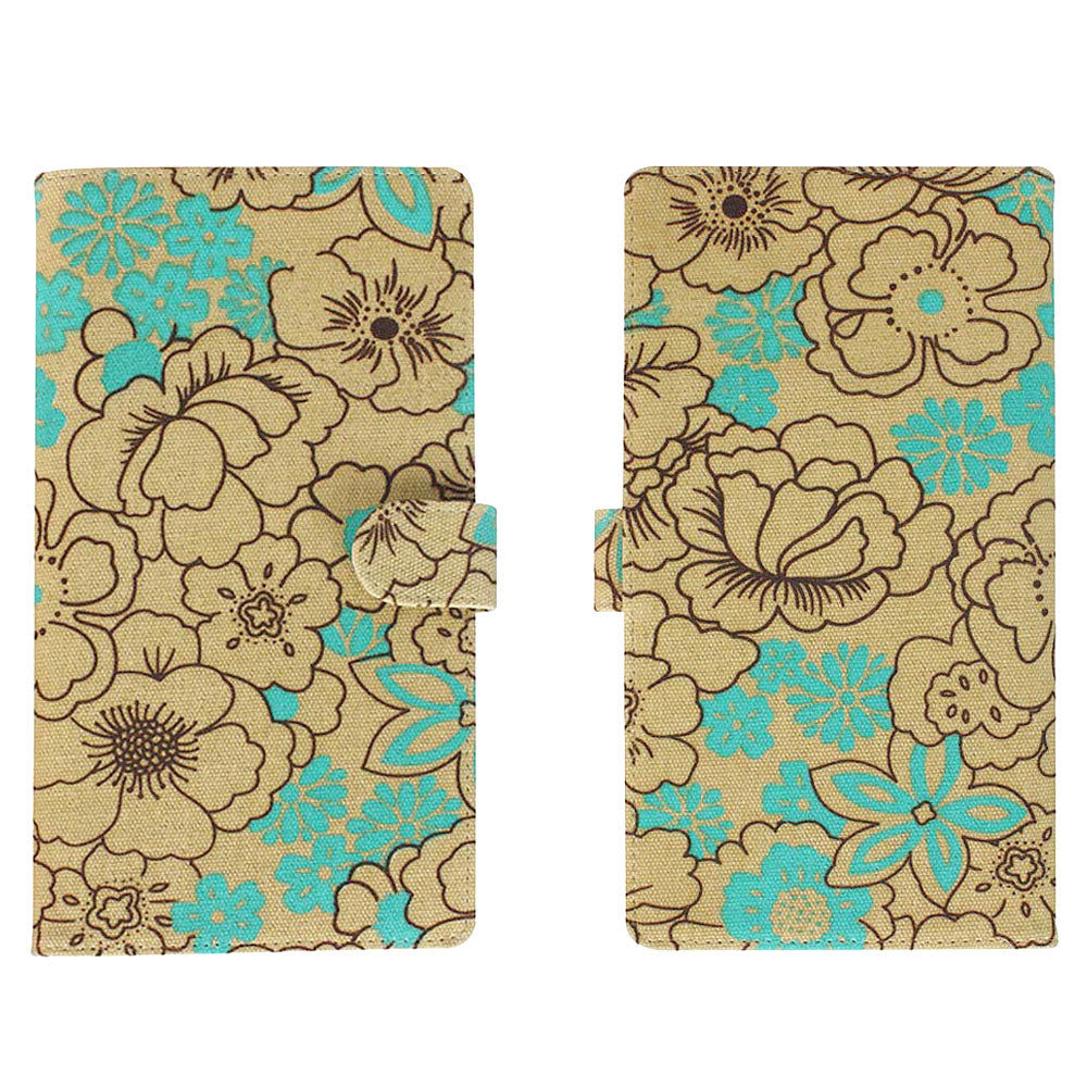 "Travel Set: Turquoise Poppy Extra Long (8.5"" x 5"") RFID Blocking Passport Case with Pen Holder + 2 Matching Luggage Tags"
