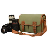 JAVOedge Canvas Camera Messager Style Bag for Nikon/Canon/Sony/Panasonic/Fuji/ DSLR with Snap Closures