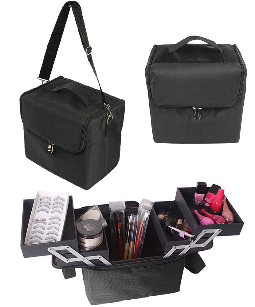 JAVOedge Black Makeup Organizer / Box with Carrying Strap, Inner Pockets, Fold Out Storage