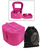 Jewelry Box Hard Case with Handle, Mirror, Snap Closure, Divider, Removable Second Tier with Bonus Cosmetic Bag