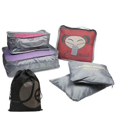 JAVOedge Purple Leaf Pattern Fabric Travel Bra Storage Case with Zipper Closure and Bonus Multi-Purpose PVC Zipper Bag
