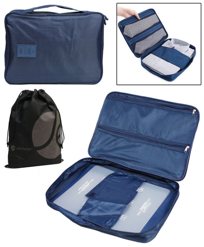 JAVOedge 4 Pack of Easy Storage or Travel Nylon Zipper Bags (Dark Blue, Light Blue, Beige, and Pink)