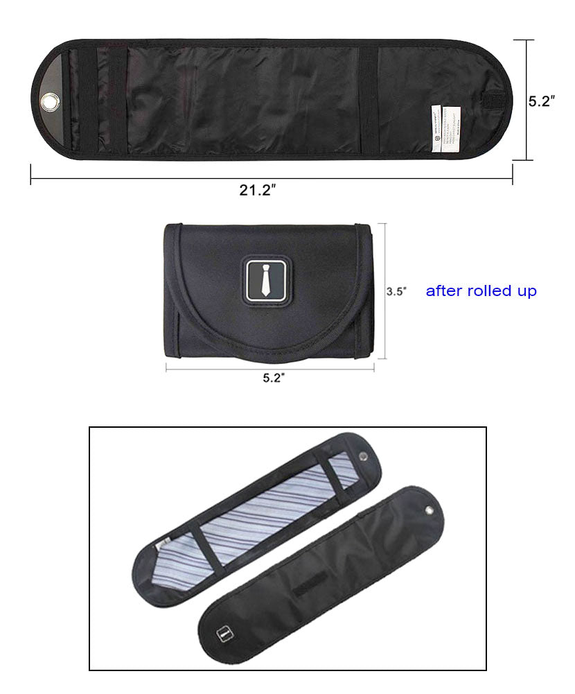 JAVOedge Black Roll Up Tie Storage Zipper Case for Luggage, Work, Transport