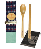 JAVOedge Wooden Chopsticks and Spoon Set with Silverwear Holder