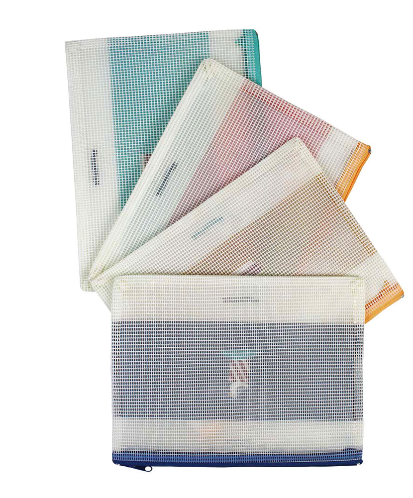 JAVOedge 4 Pack of Easy Storage or Travel PVC Mesh Bags (Blue, Light Blue, Peach, and Pink)