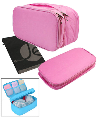 JAVOedge Blue Tiny Rose Pattern Fabric Travel Bra Storage Case Plus 1 PCS PVC BAG / Zipper Closure and Carrying Handle