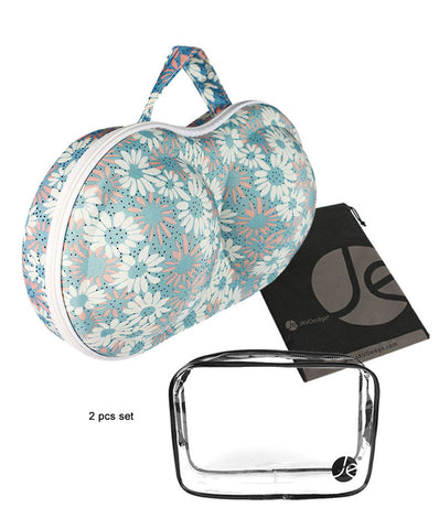 JAVOedge Small Blue Flower Pattern Fabric Travel Bra Storage Case with Zipper Closure and Carrying Handle