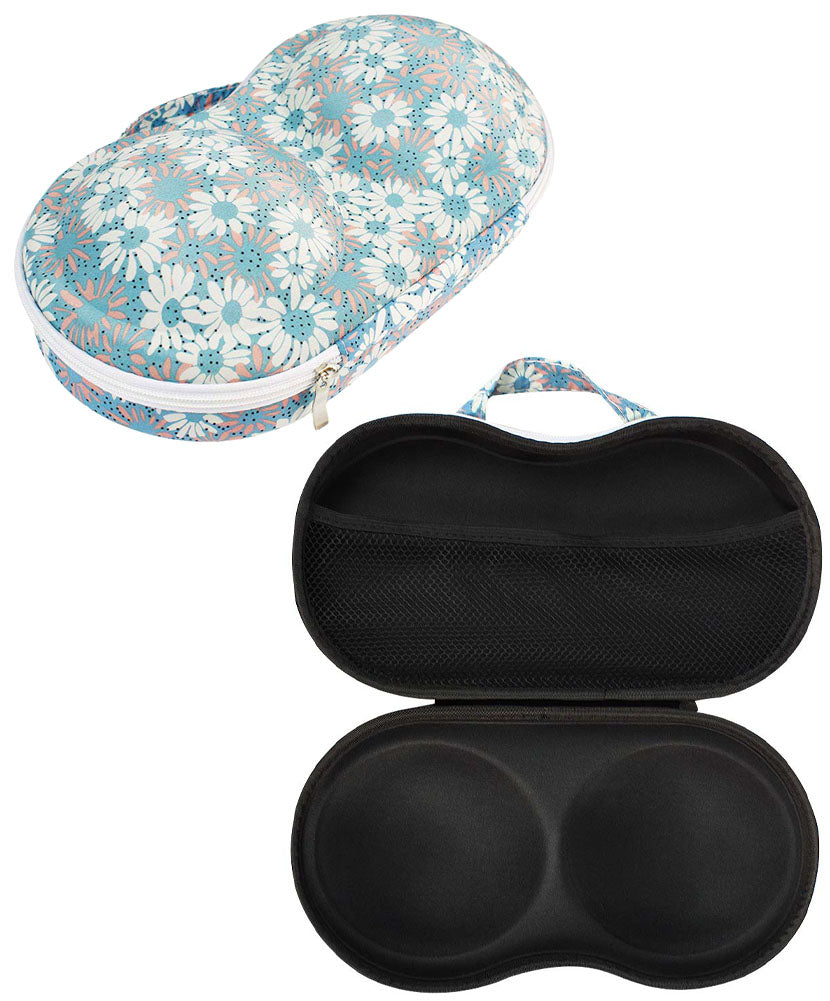 JAVOedge Blue Daisy Pattern Fabric Travel Bra Storage Case Plus 1 PCS PVC BAG with Zipper Closure and Carrying Handle