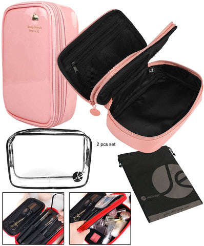 JE Bundle (3 Piece Set) Cosmetic Varies Design Bags and (7 Piece Set) Makeup Brush Set with Travel Bag