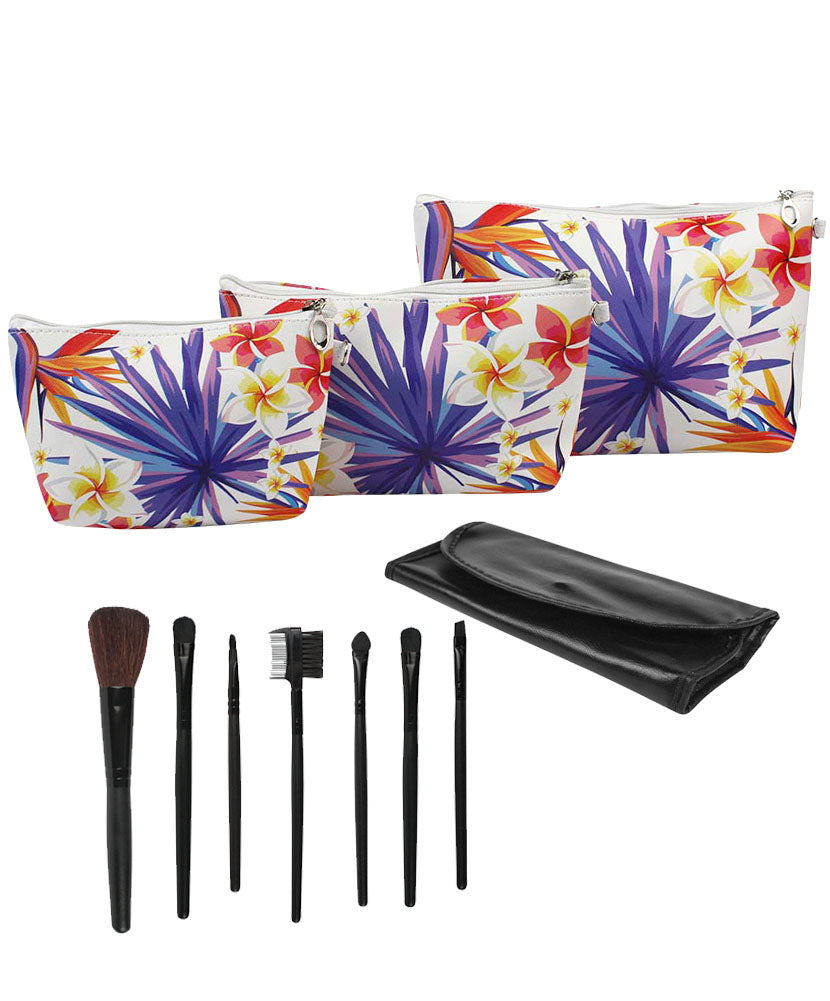 JE Bundle (3 Piece Set) Cosmetic Tropical Bags and (7 Piece Set) Makeup Brush Set with Travel Bag