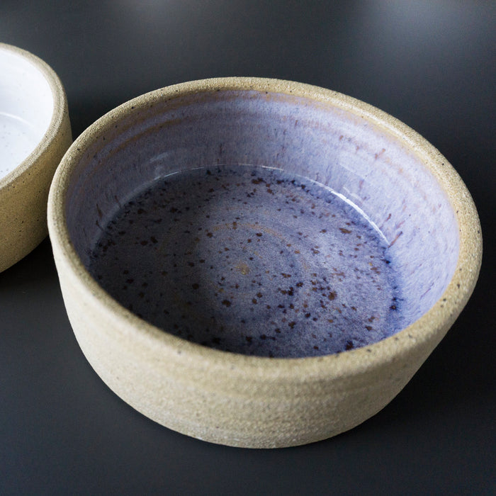 Purple Unglazed Cat Bowl