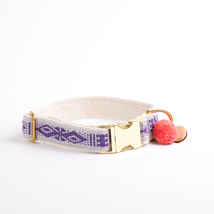 "Xolotl Loom Collar | 1"" Beige purple"