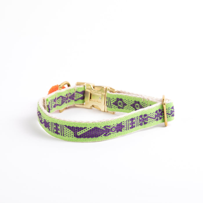 "Xolotl Loom Collar | 1"" Green Purple"