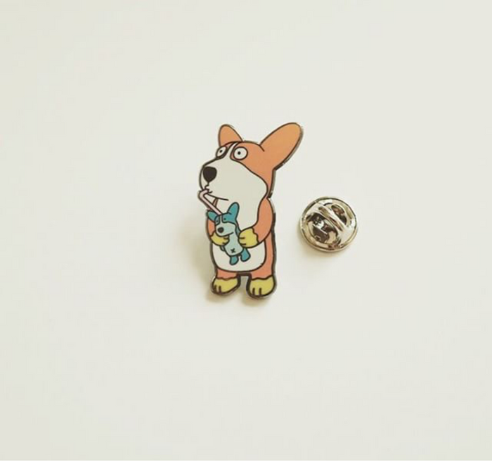 Corgi-man Pin | Drinking Corgi