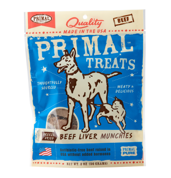 Primal dog cat beef liver munchies 3oz