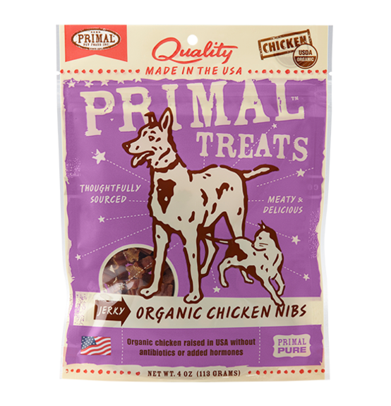 Primal dog/cat chicken nibs jerky 4oz