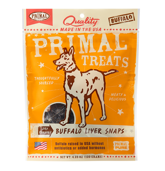 Primal dog buffalo liver snaps 4.25oz