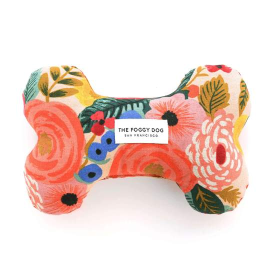 Painted Peonies Dog Bone Toy
