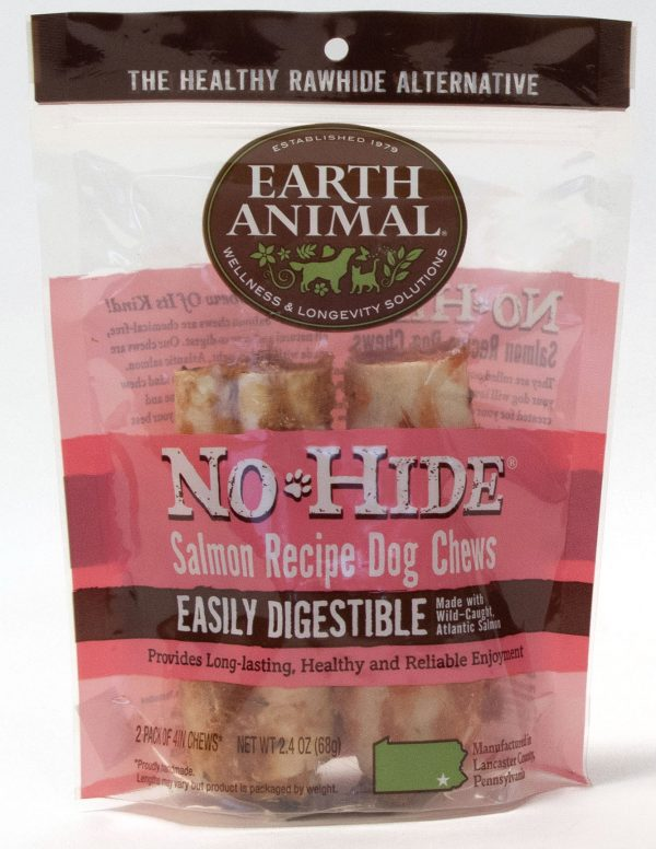 "Earth animal no hide salmon chew 4"" 2 pack"