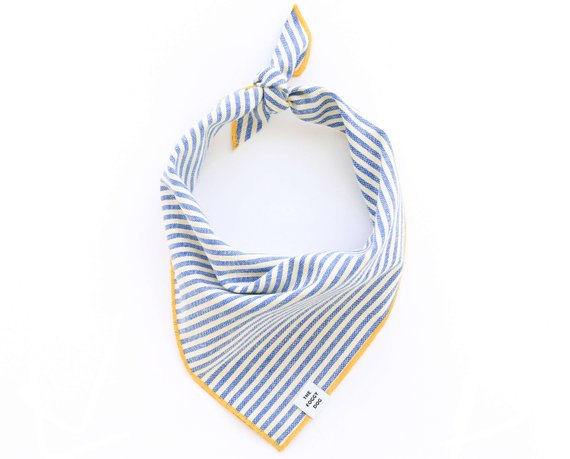French Blue Stripe Bandana Size Medium