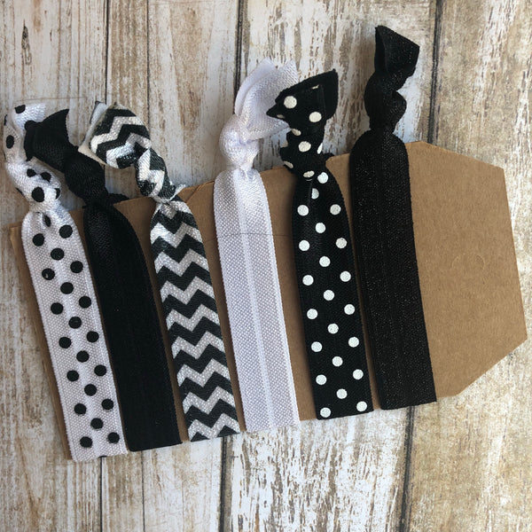 Black and White Hair Tie Pack