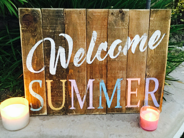 Welcome Summer Wood Sign
