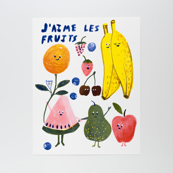 J'aime Les Fruits Art Print