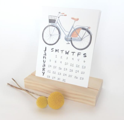 2019 Desk Calendar with Wood Display Stand