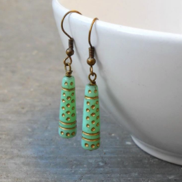 Vintage Glass Painted Earrings