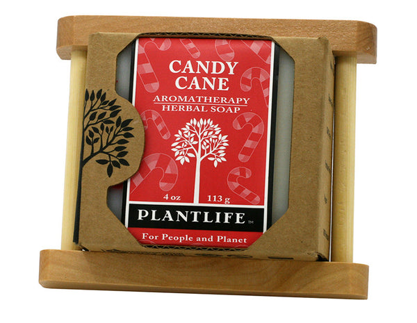 Candy Cane Soap with Wood Soap Dish