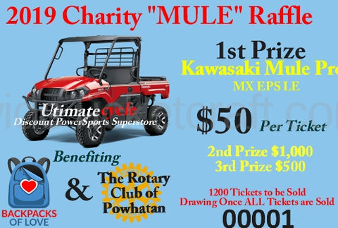 "$50 Raffle to win 1st prize ""Mule""  2nd prize $1,000   3rd prize $500"