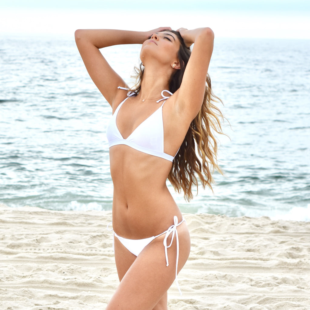 WHITE RIBBED BIKINI SET