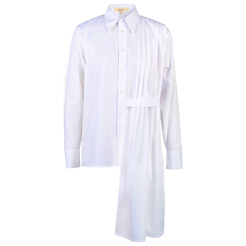 Ame Half-body Pleated Poplin Shirt