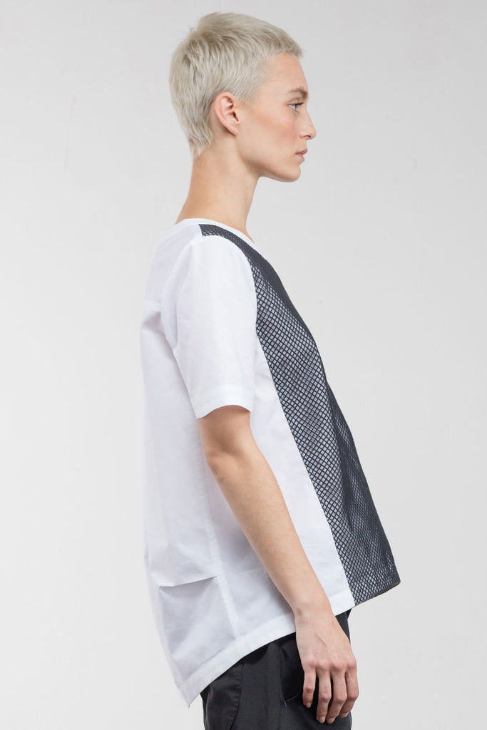 Nels Contrast Mesh Top White