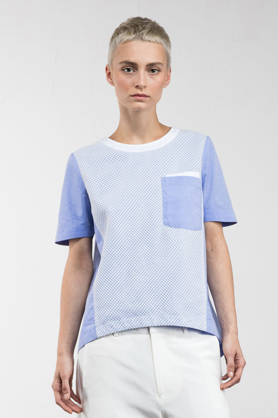 Nels Contrast Mesh Top Blue