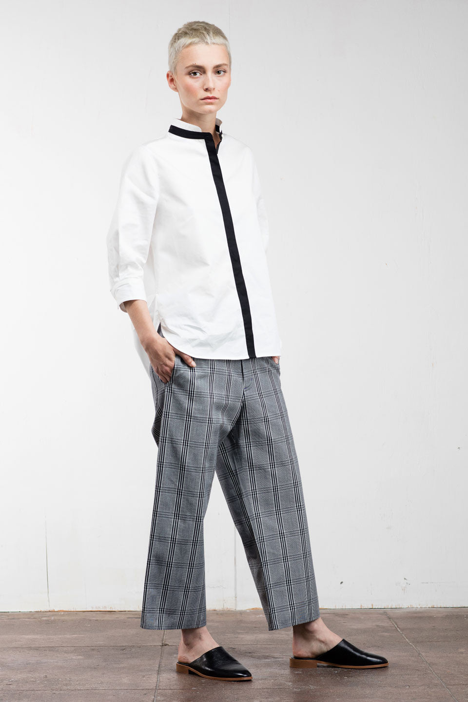 Charles Wide-Leg Pant Glen Check