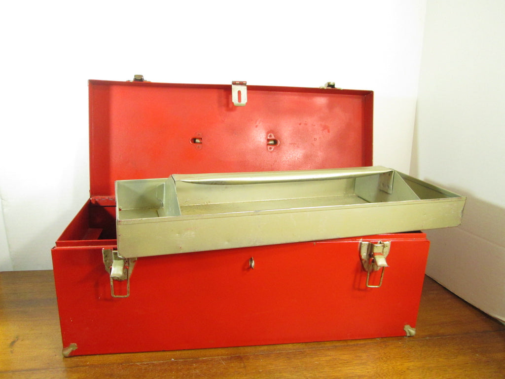 Vintage Red Tool Box with Lift Out Tray, Holiday Decorating
