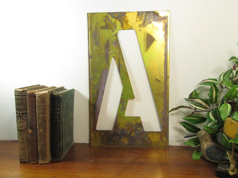 Brass Stencil Letter A, 16 Inch, Gallery Wall Monogram A