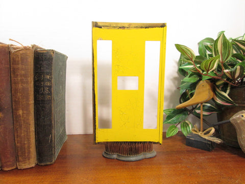 Vintage Brass Stencil H with Yellow Paint 8 1/4 Inch Tall
