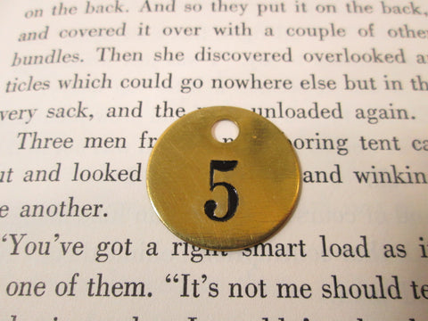 Vintage Brass Tag, Number Five, Round Cattle Key