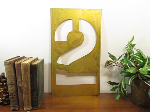 Brass Stencil Number 2, 16 Inch, Gallery Wall Metal Number Two