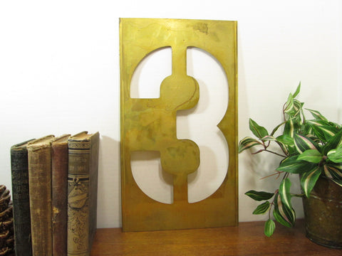 Brass Stencil Number 3, 16 Inch, Gallery Wall Number Three