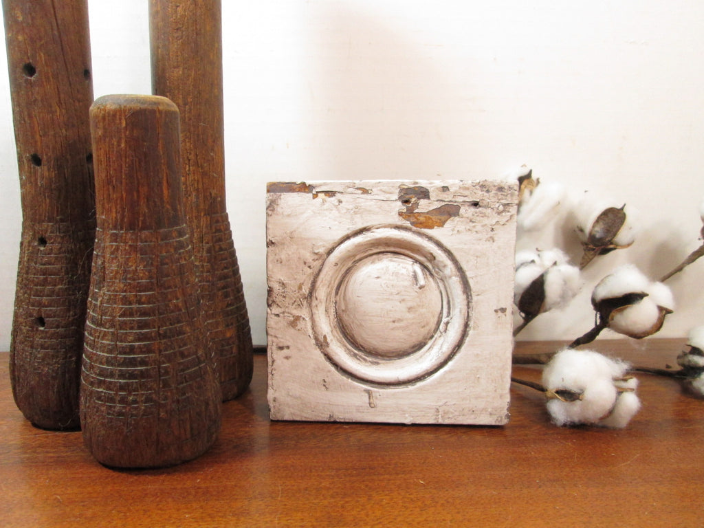Plinth Block, Wood Bullseye Plinth, Architectural Salvage