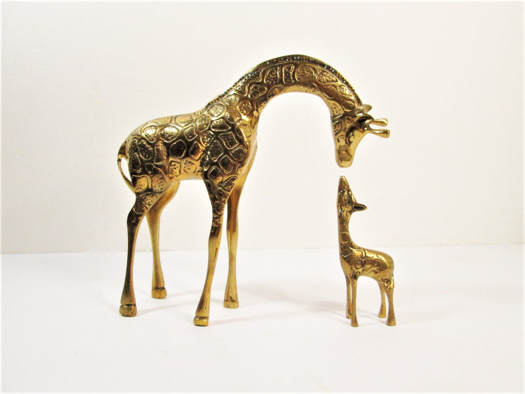Vintage Brass Giraffe Set, Mother and Baby, Gold Nursery Decor