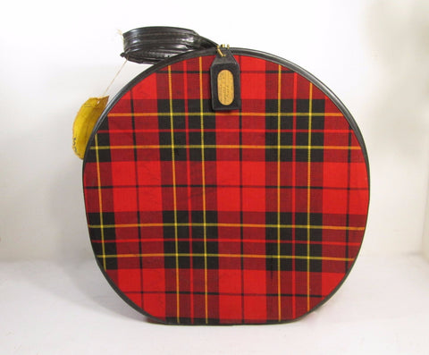 Vintage Plaid Travel Hat Box Vintage Luggage - GirlPickers